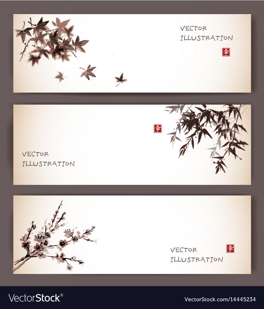 Three banners with maple bamboo and sakura vector image