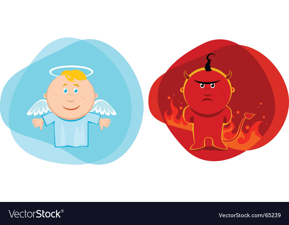 Angel and devil kids vector image