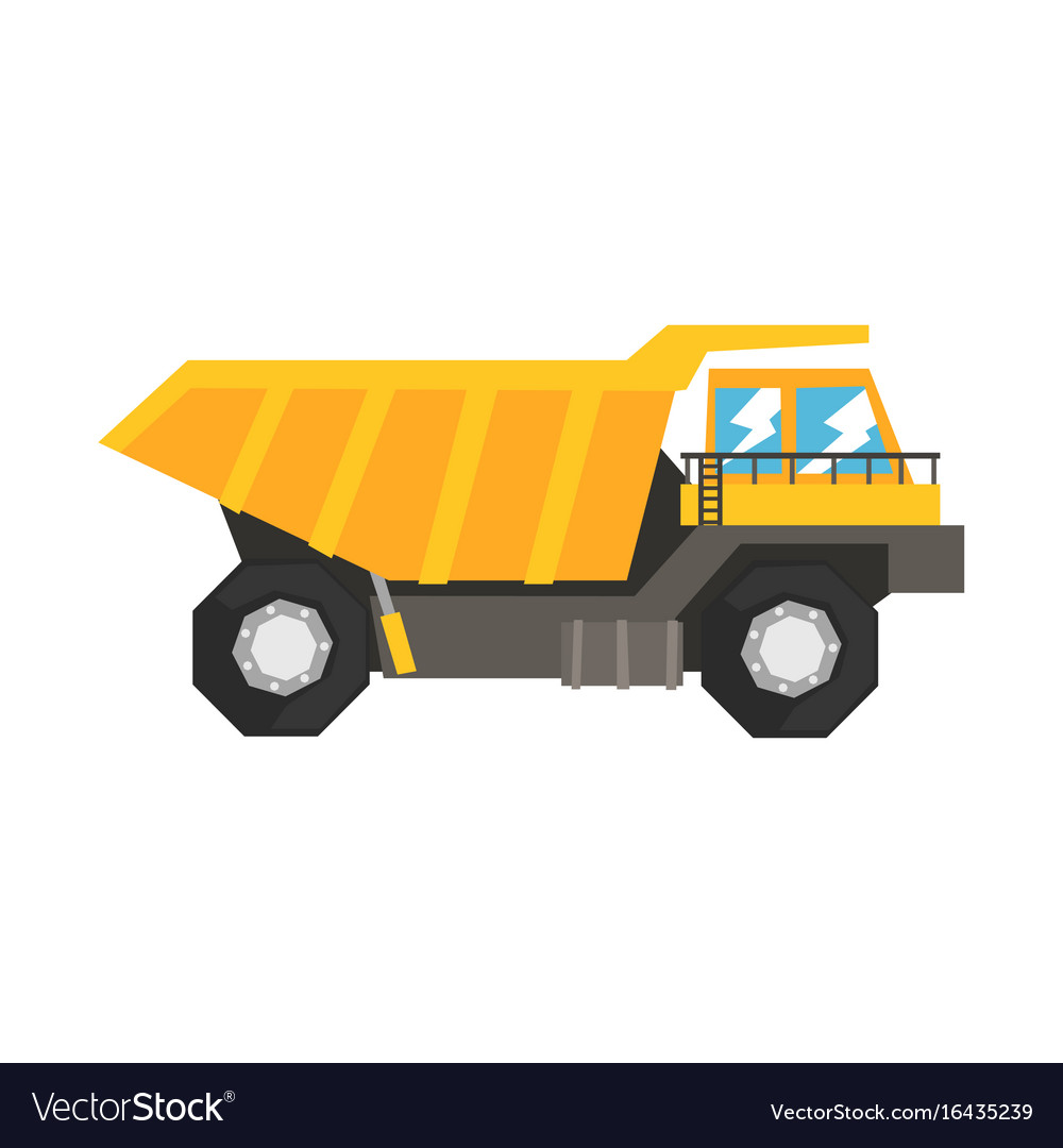 Big Dump Trucks >> Big Yellow Dump Truck Heavy Industrial Machinery Vector Image