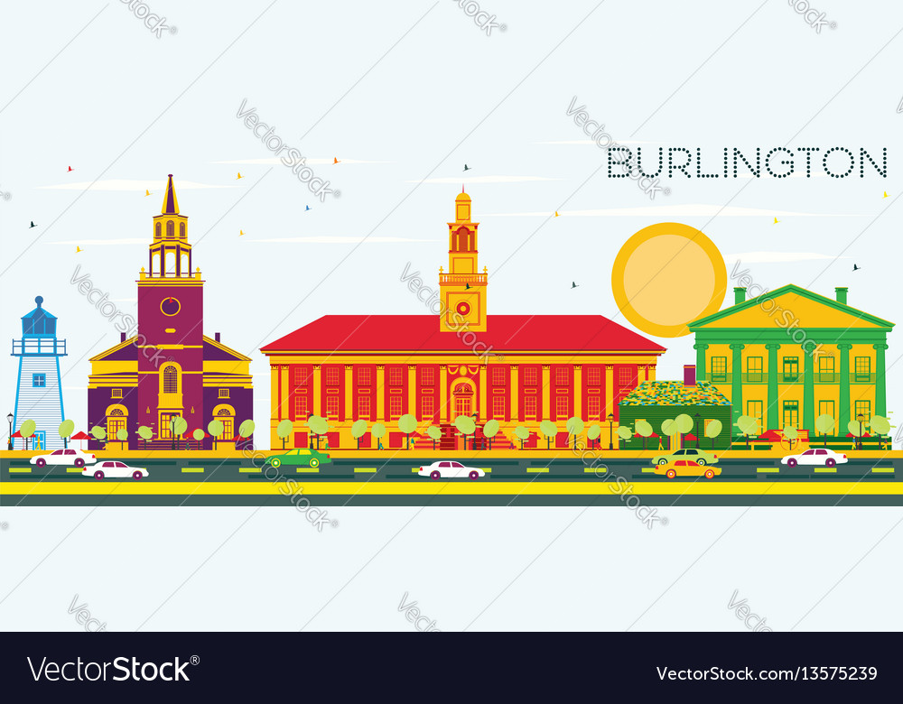 Burlington skyline with color buildings and blue