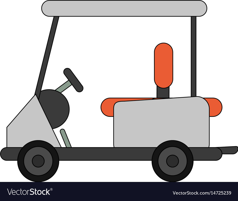 Color Image Cartoon Golf Cart Vehicle Royalty Free Vector