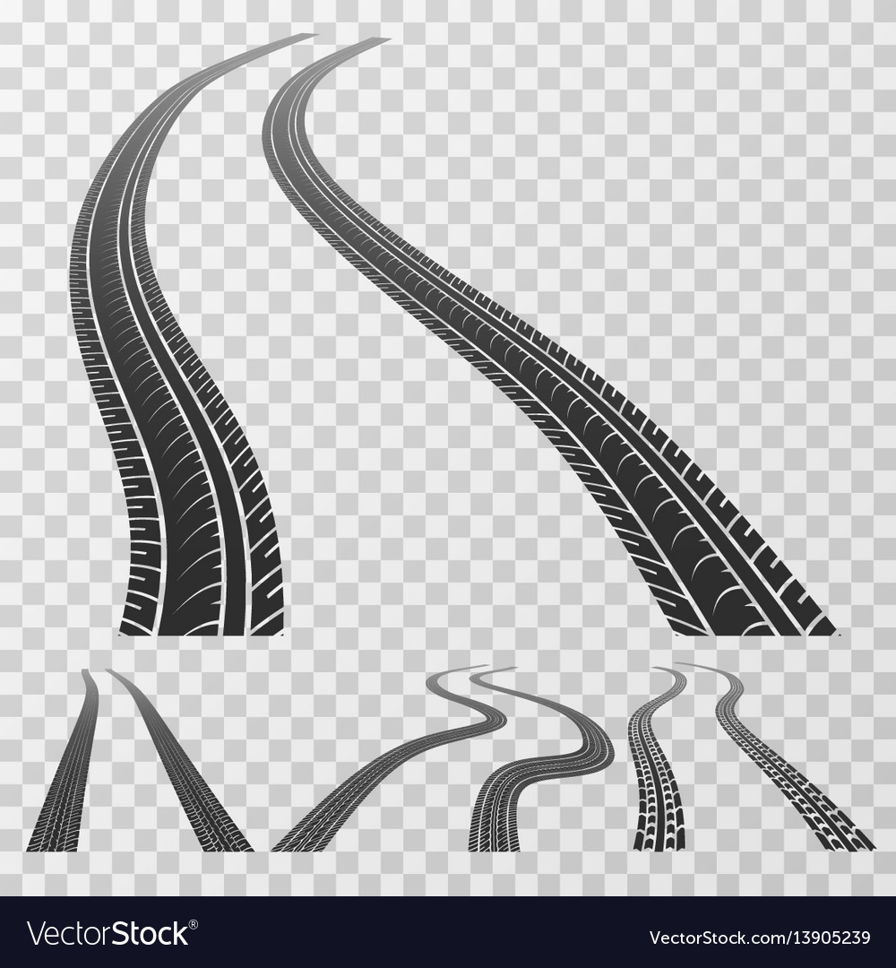 Curved tire tracks stretching to the horizon