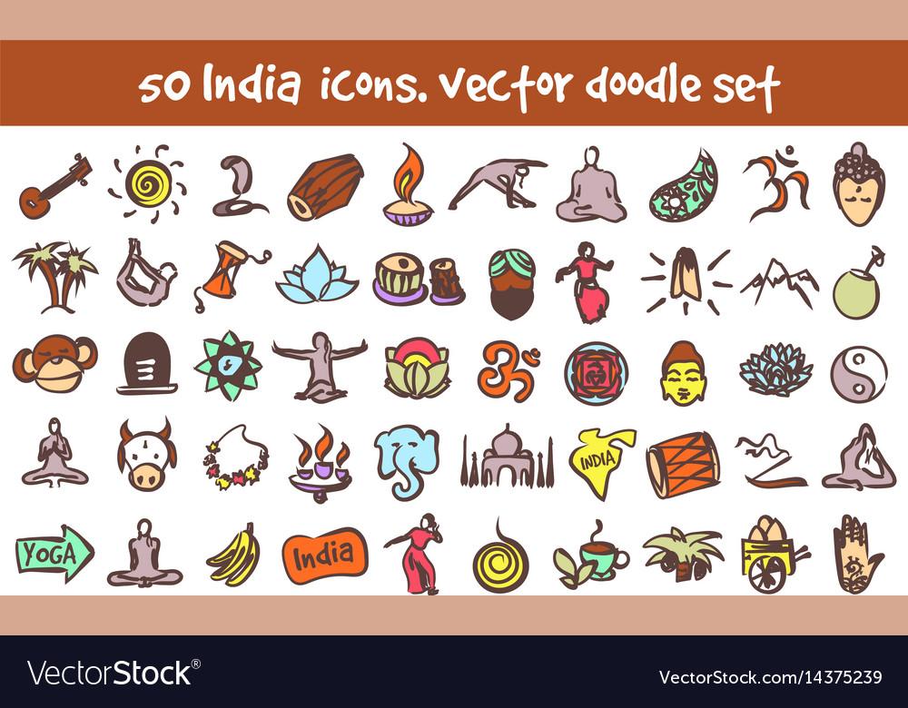 Doodle india icons set