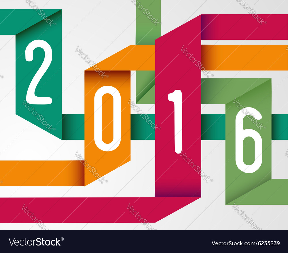 happy new year 2016 simple origami background vector image