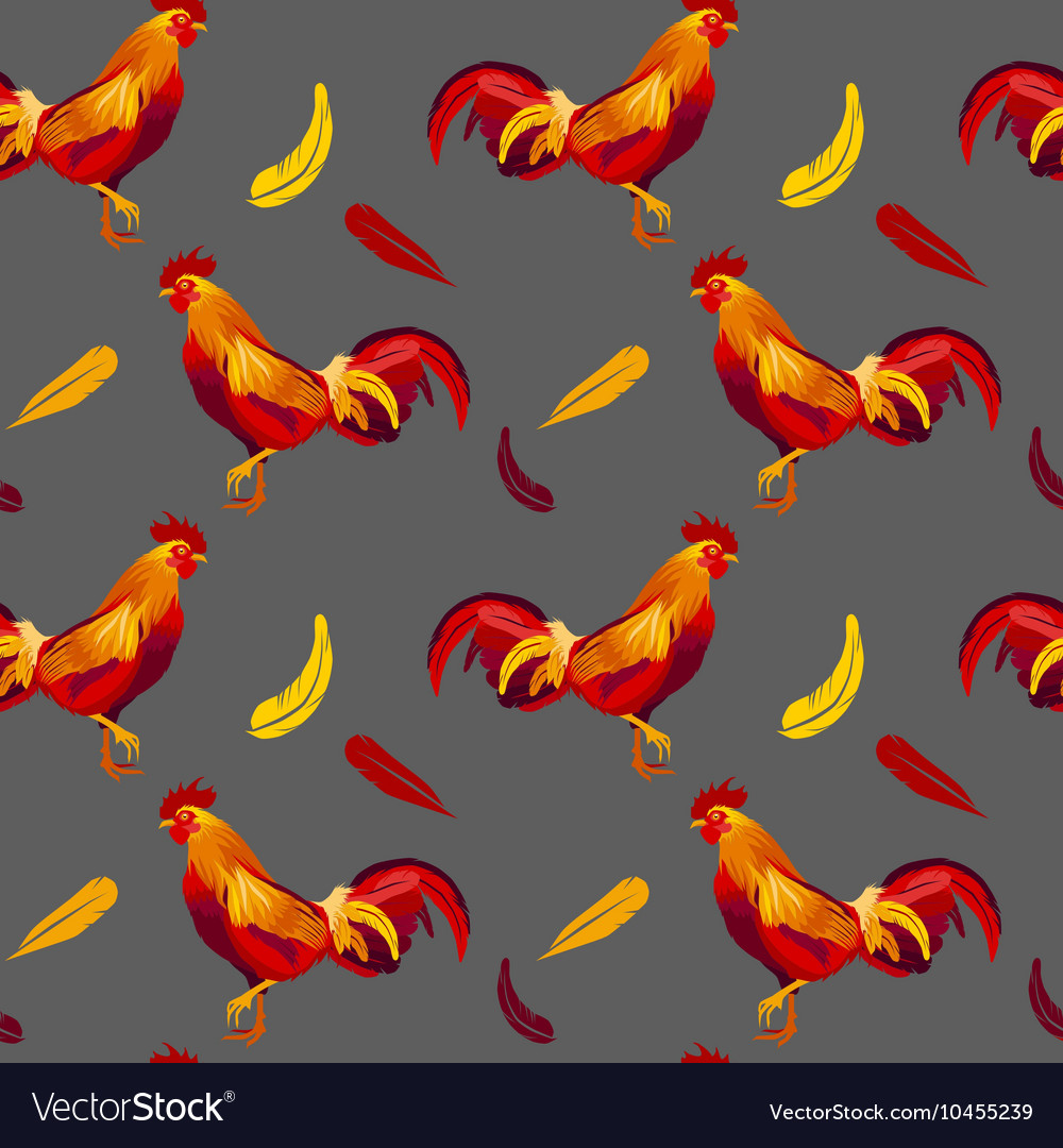 Image of red rooster seamless pattern