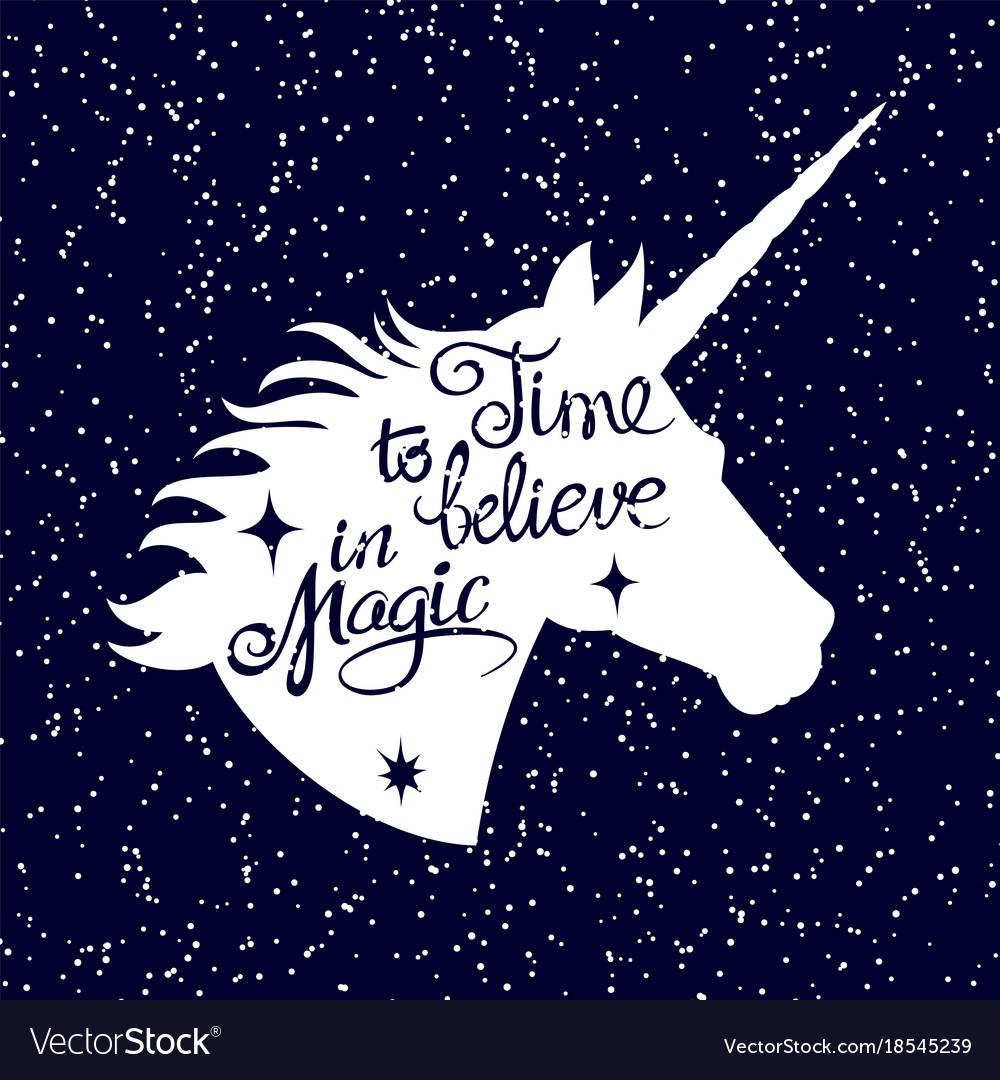 Inspiring unicorn silhouette head on falling snow