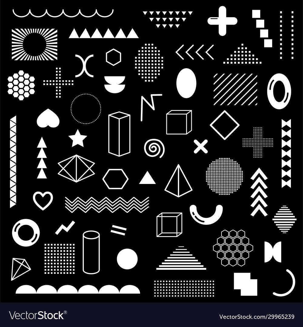 Mega pack white geometric shapes isolated