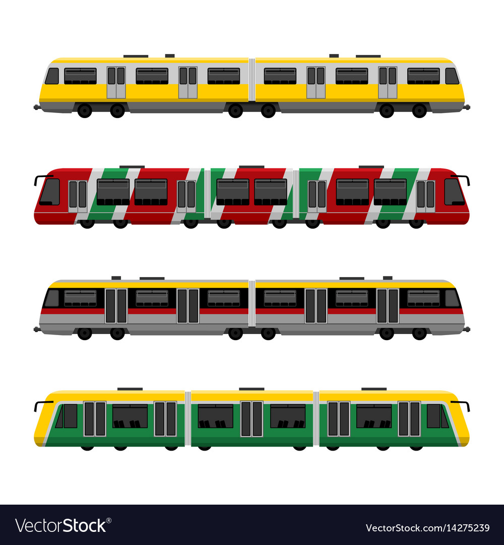 Modern high speed city subway trains set