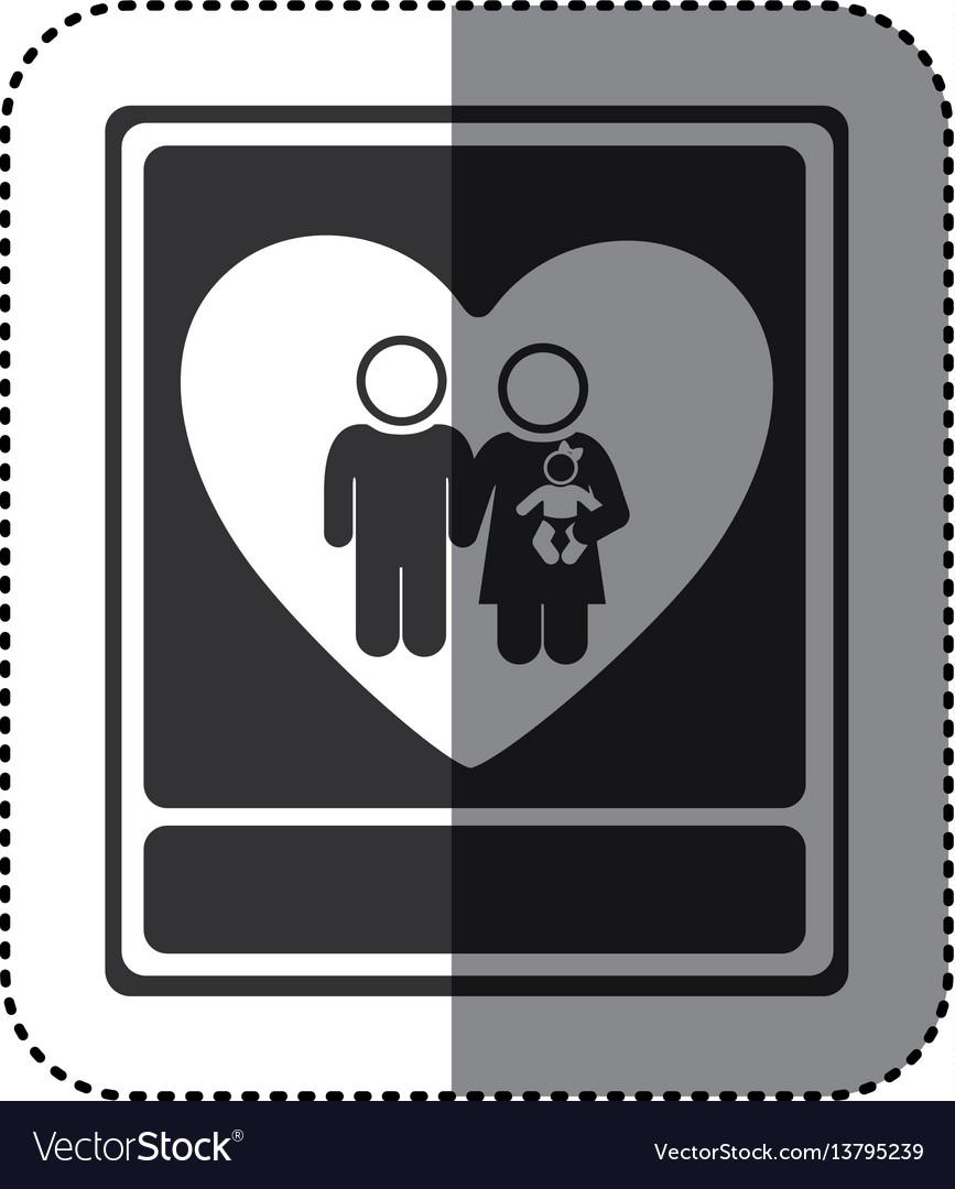Sticker Of Monochrome Portrait Of Family Unity Vector Image