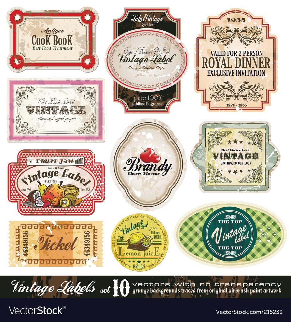 Vintage labels collection set