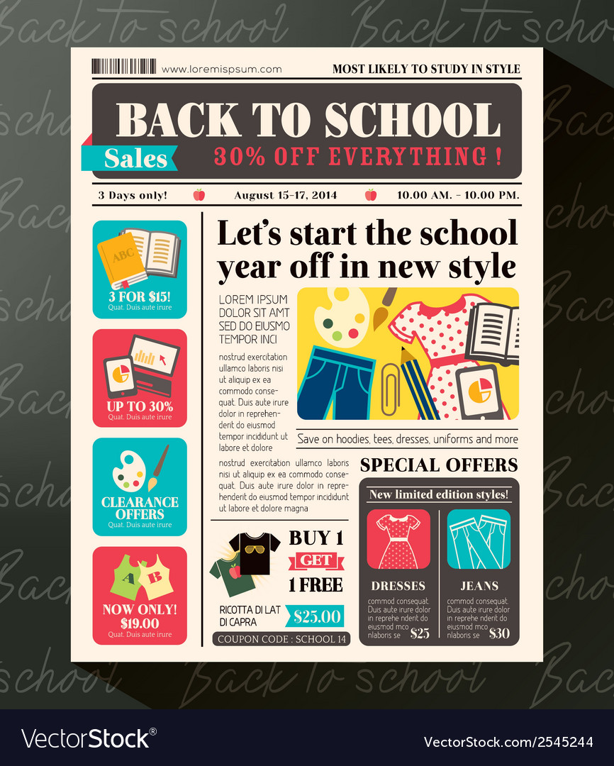 Back To School Sales Promotional Design Template Vector Image