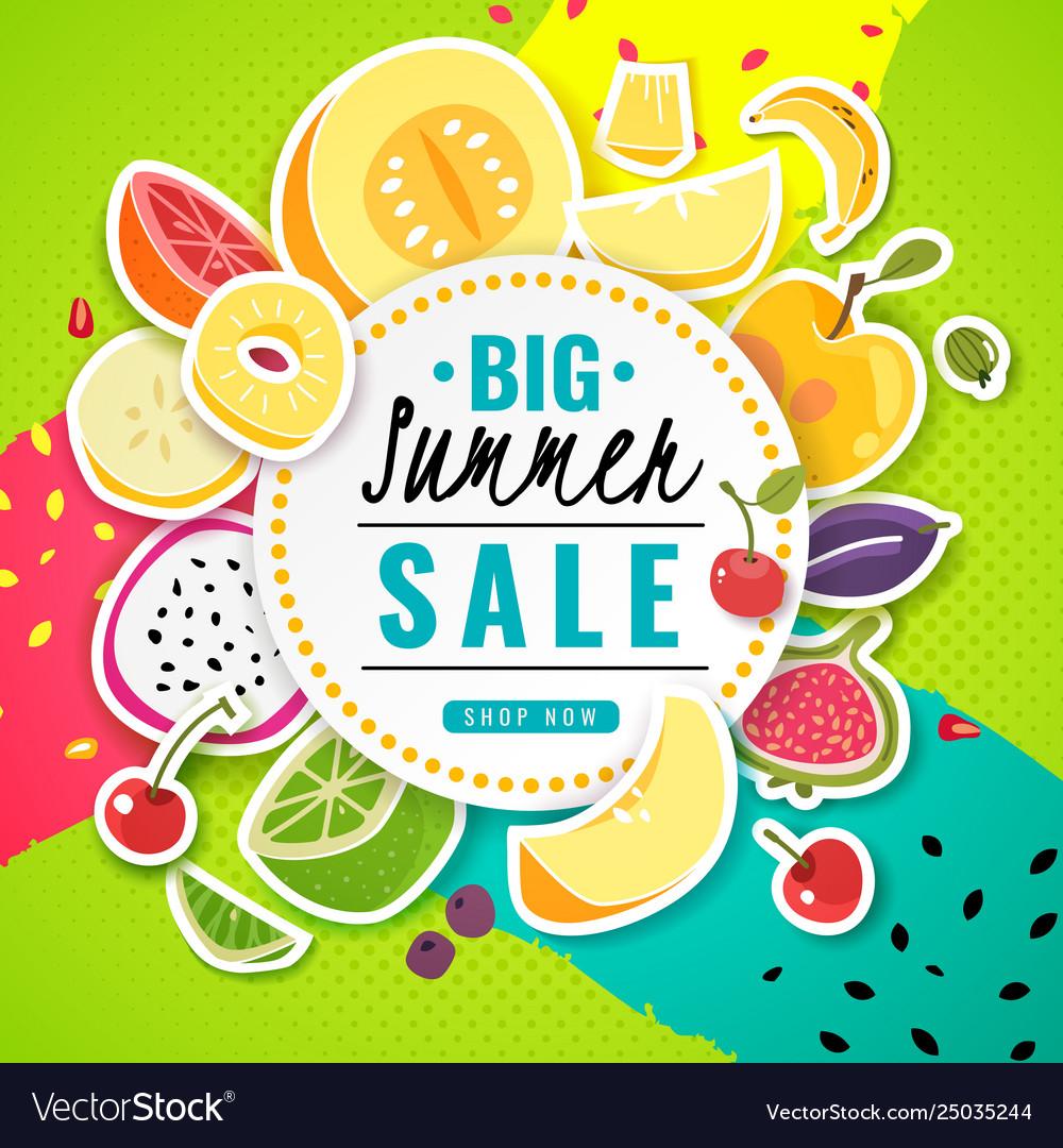 Banner fruit poster fresh food juice summer