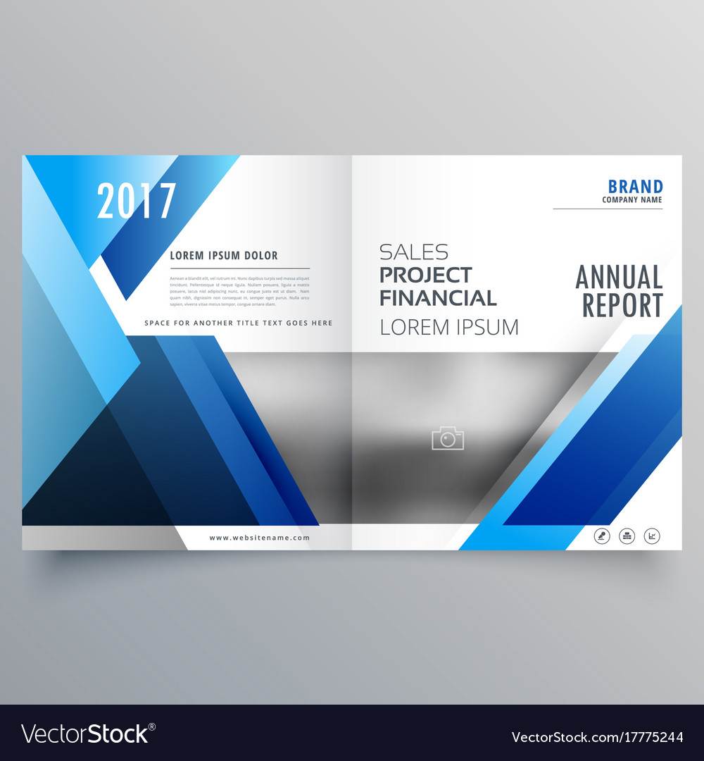 Blue Business Bi Fold Brochure Design Template In Vector Image