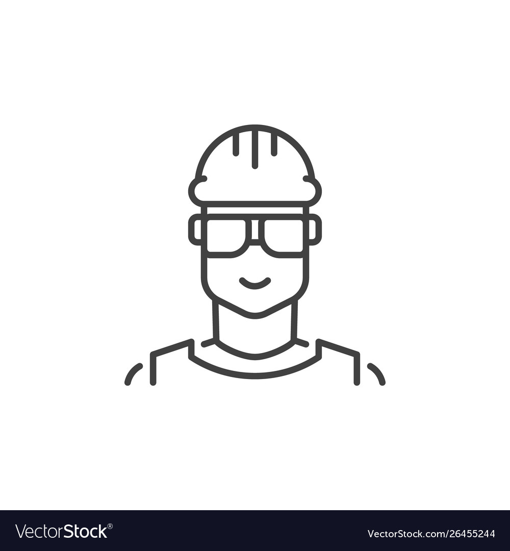Builder concept outline icon male worker
