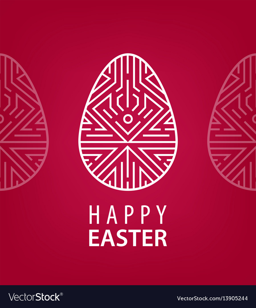 Easter egg with linear geometric decor on