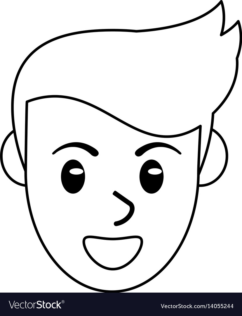Face male avatar smile outline vector image