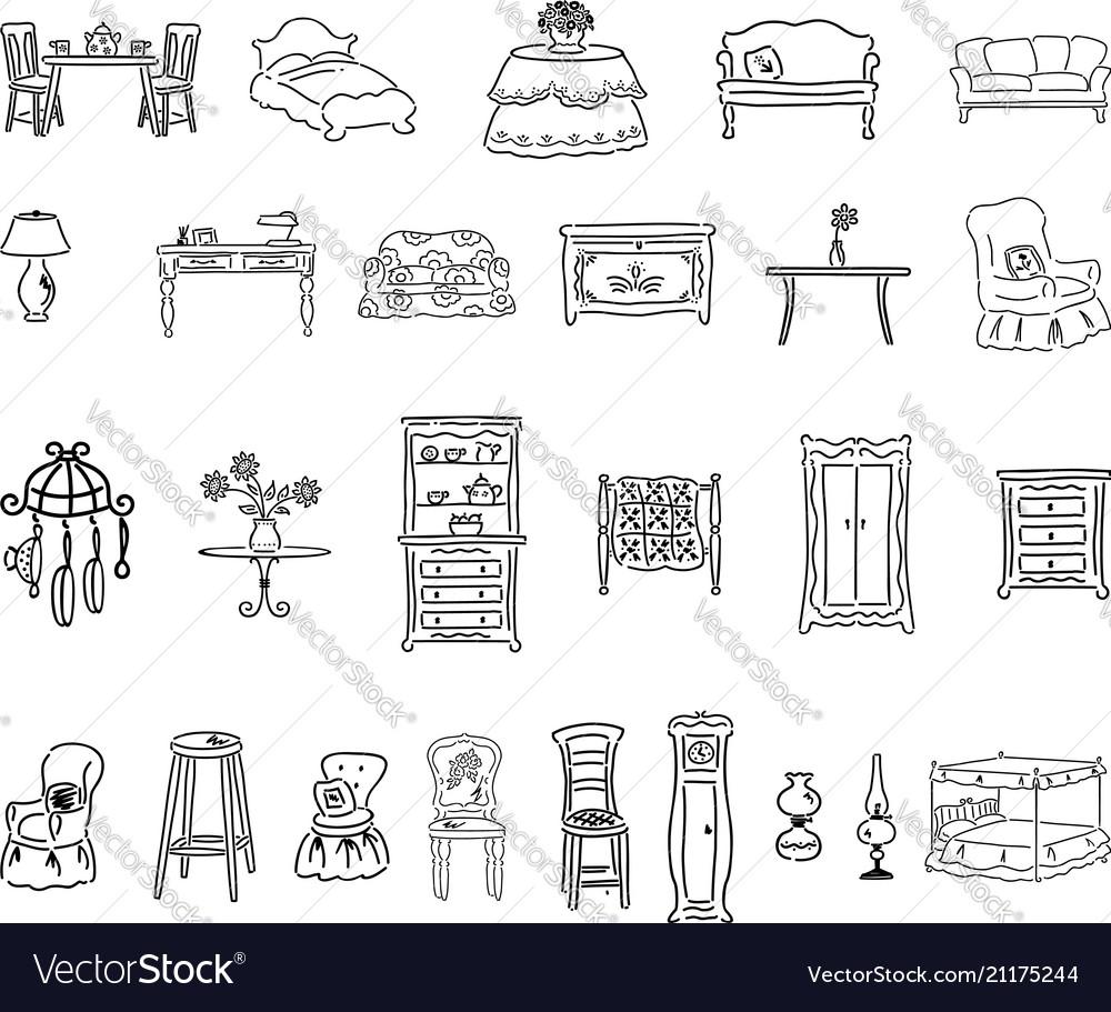 Furniture set outlined cartoon handrawn sketch