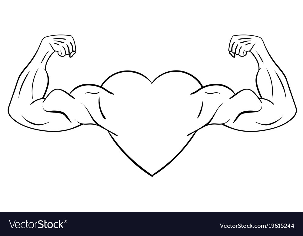 heart with muscular arms royalty free vector image rh vectorstock com cartoon pictures of muscle arms Muscle Arm Emoji