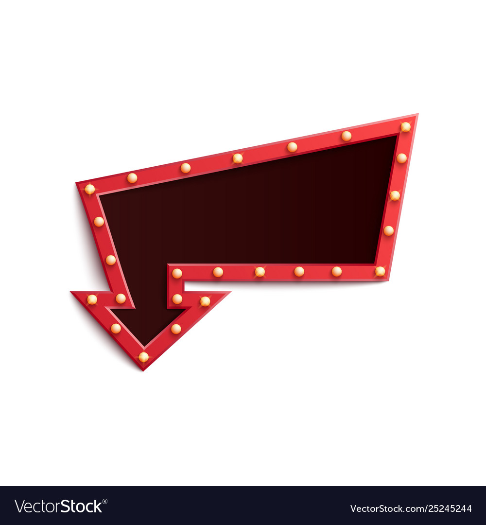 Retro red frame in form arrow with shining