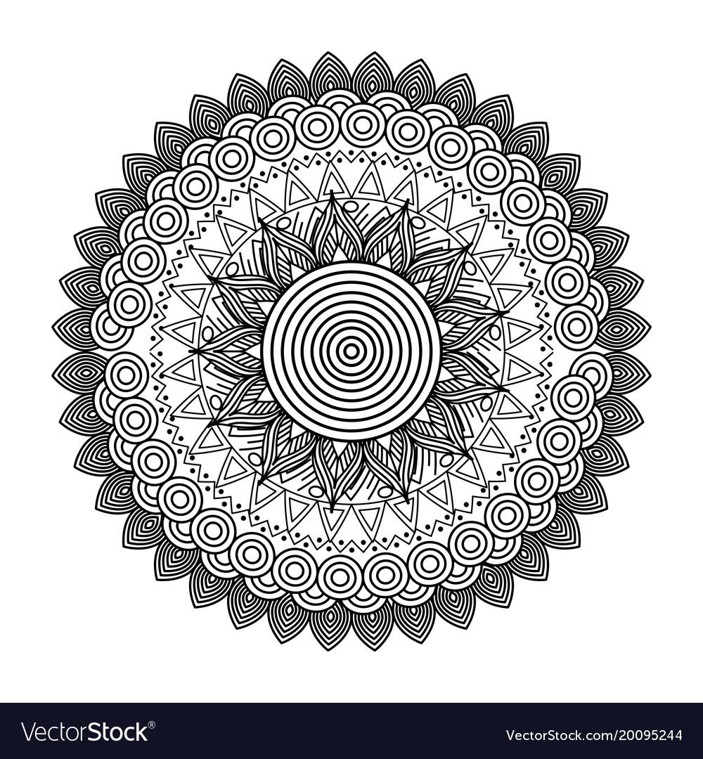 Round floral mandala decorative ethnic element