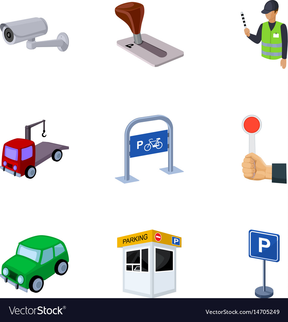 A set of icons for parking cars and bicycles