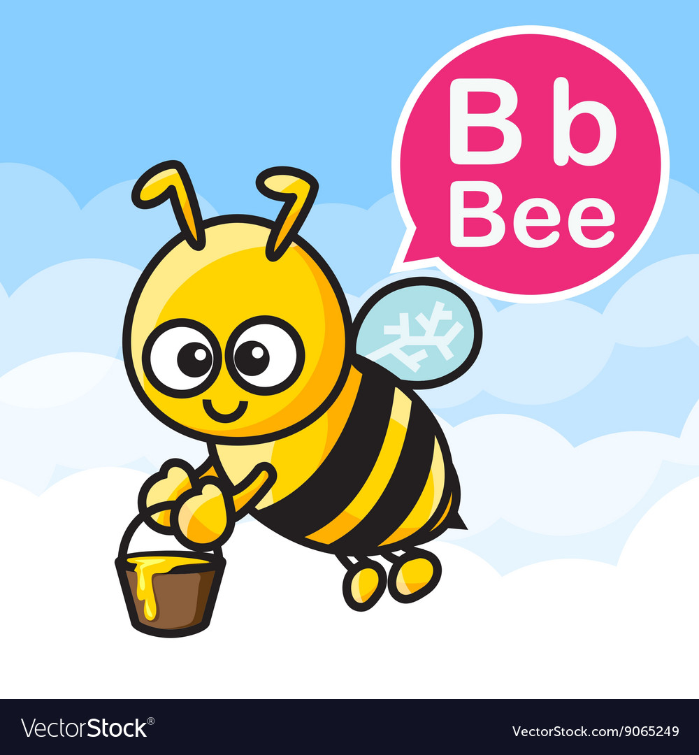 B Bee cartoon color and alphabet for children to