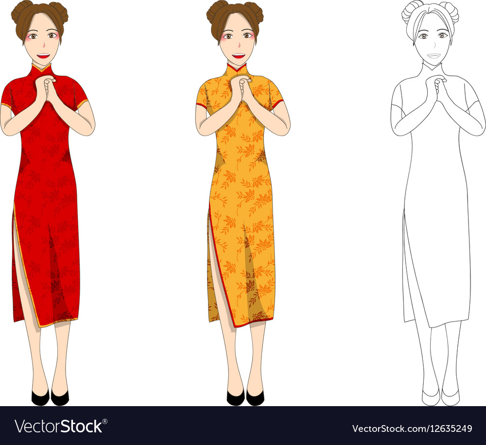 0b1a042af Chinese Woman Red Qipao Dress Royalty Free Vector Image