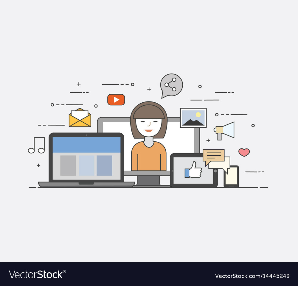 Cloud internet common storage for all devices vector image