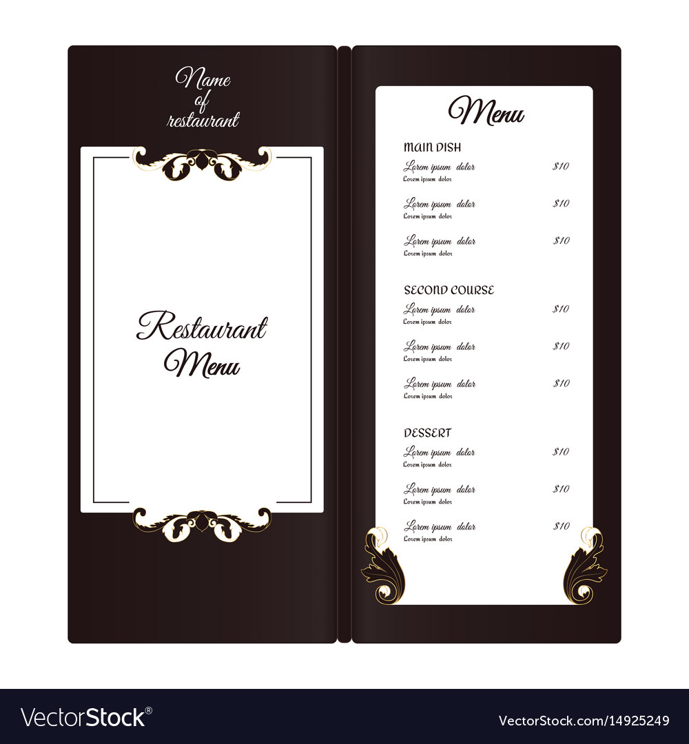 Elegant vertical restaurant menu with leafy