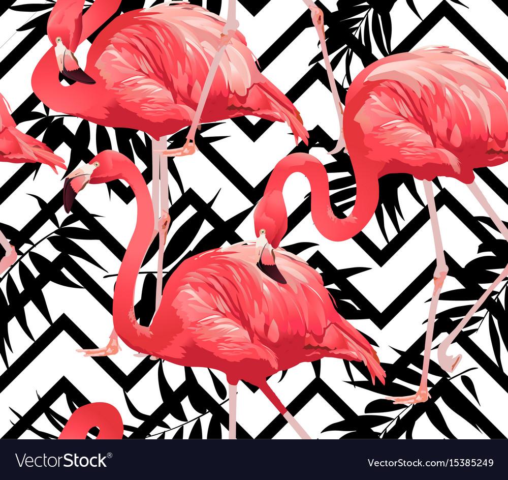 Flamingo bird and zigzag seamless pattern