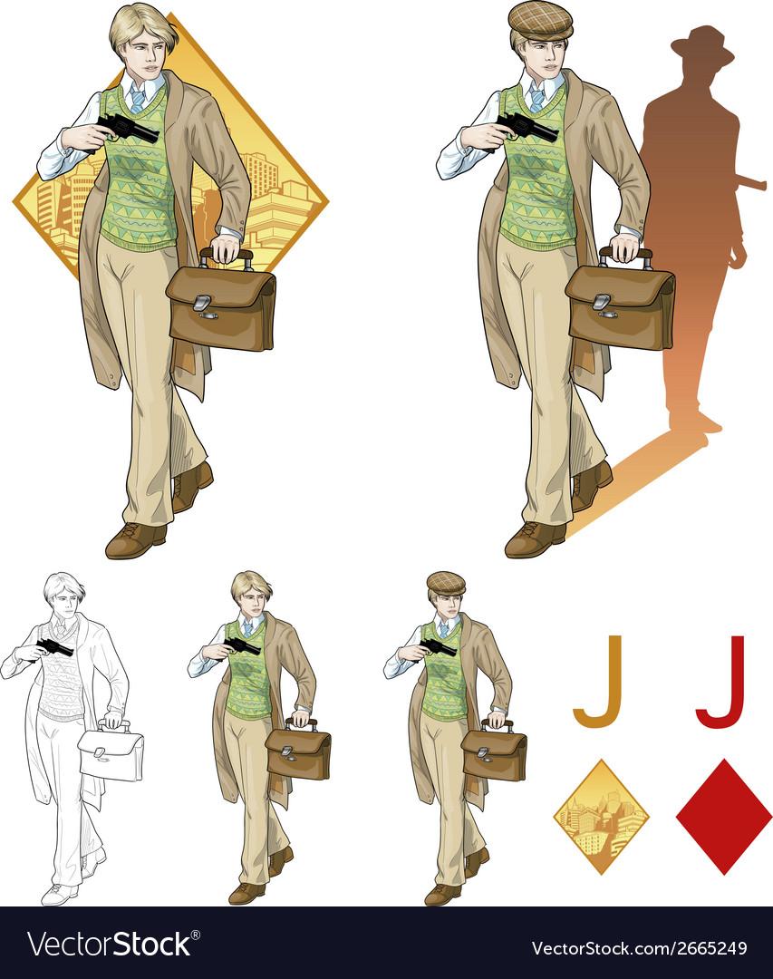 Jack of diamonds boy with a gun Mafia card set vector image