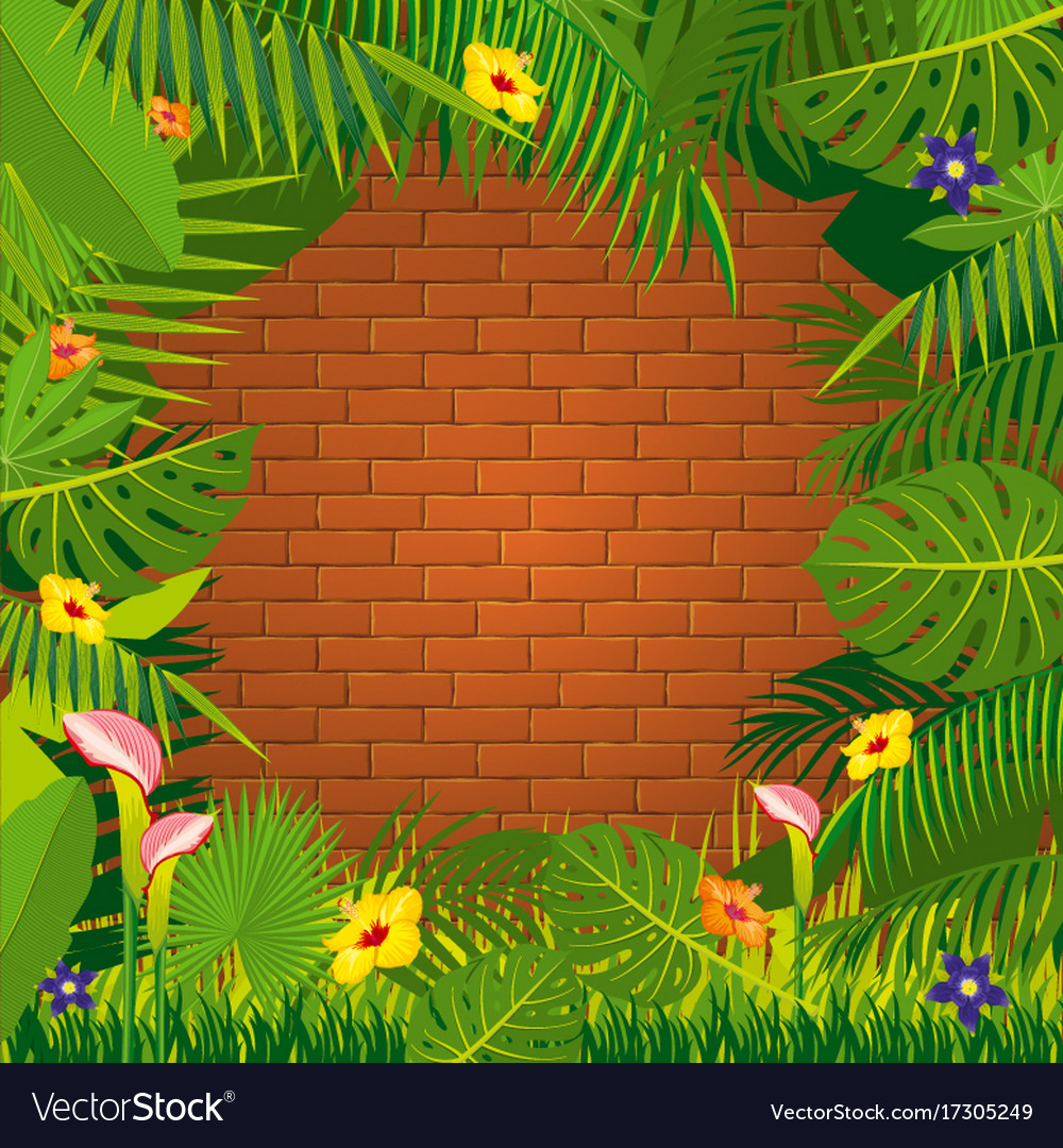 Red Brick Wall And Jungle Green Frame Design