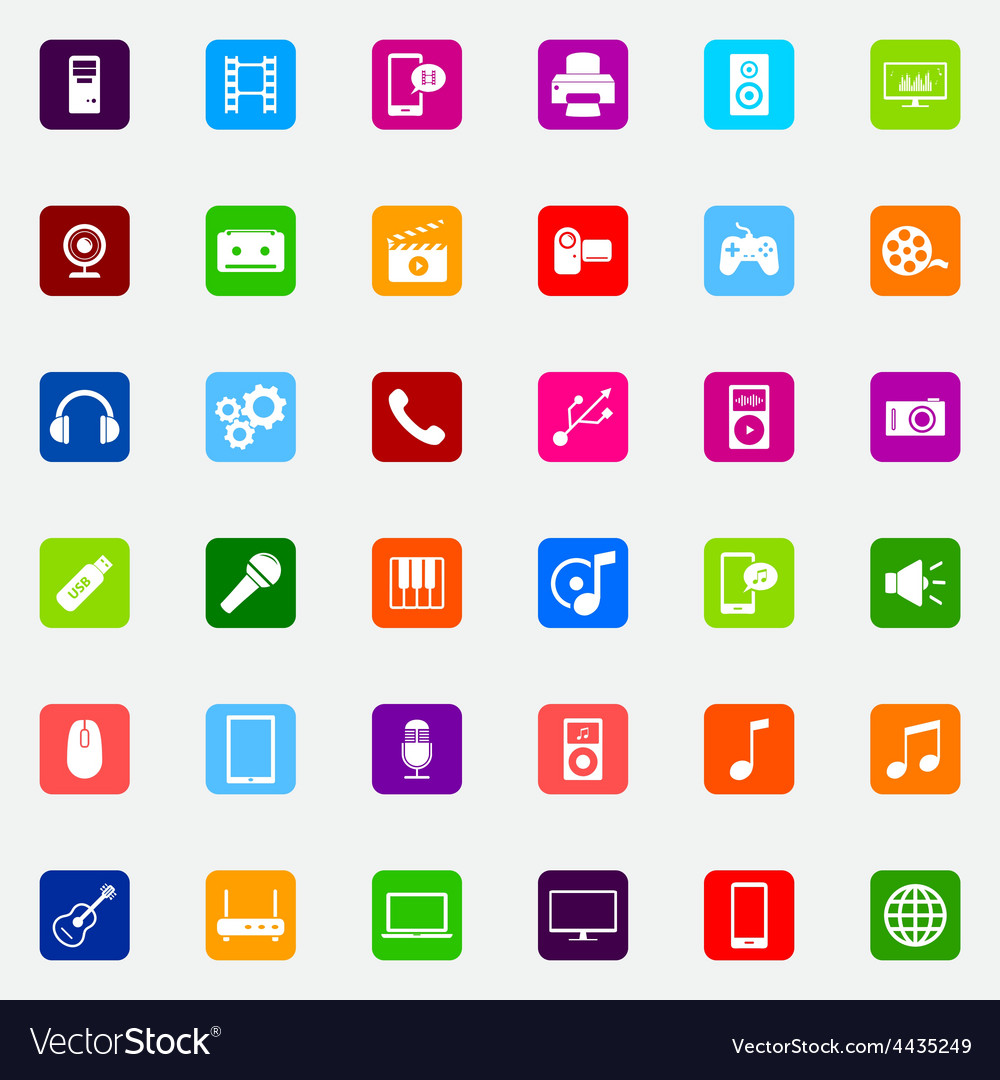 Set of colorful flat media icons