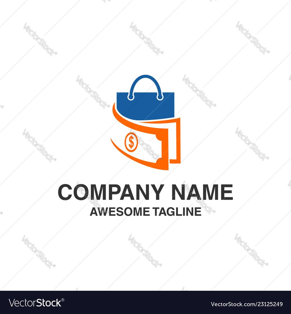 Shopping money logo financial shop icon logo