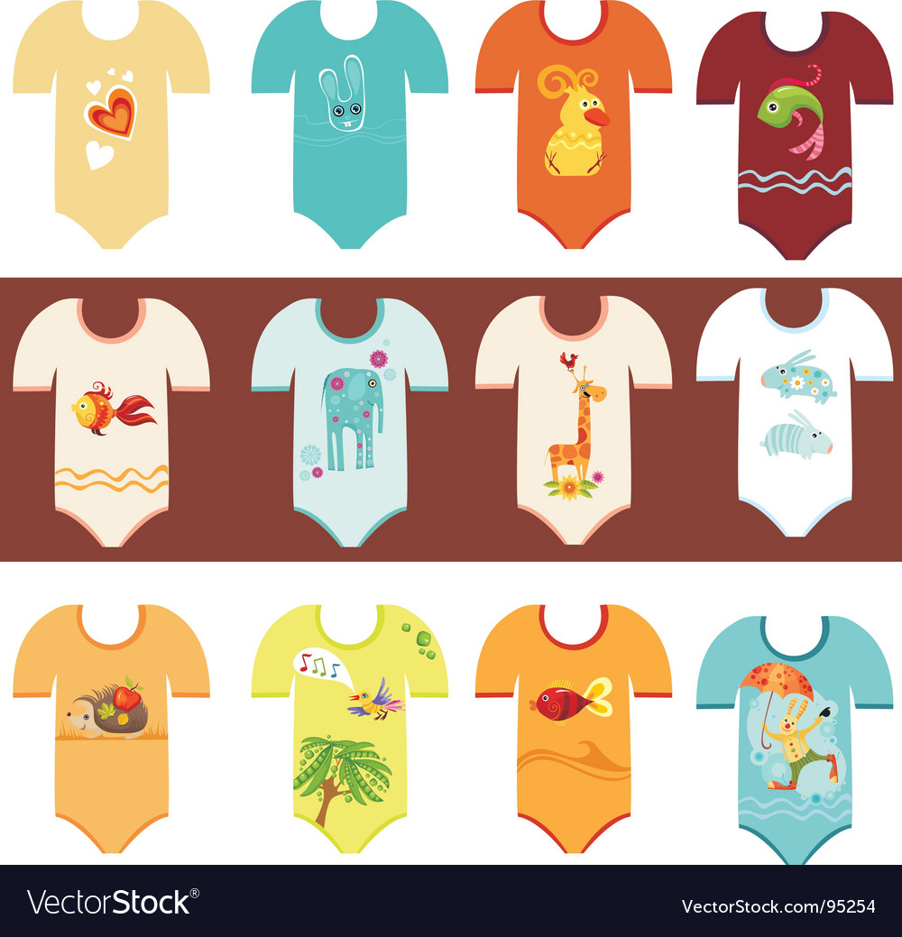 Baby clothing set vector image