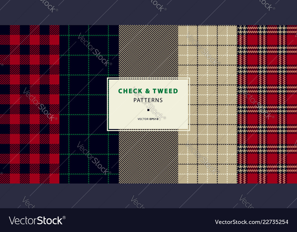 Check and tweed seamless patterns
