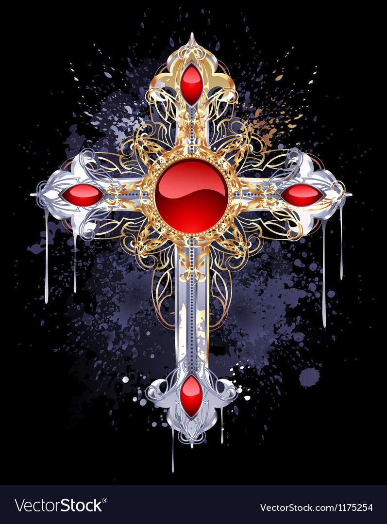 Gilt cross vector image