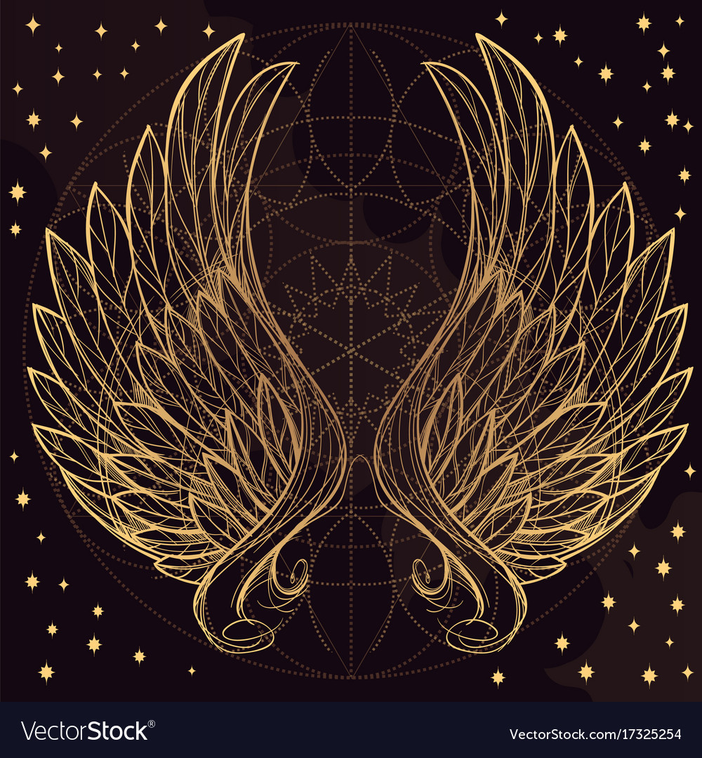 Golden wings on purple background design element