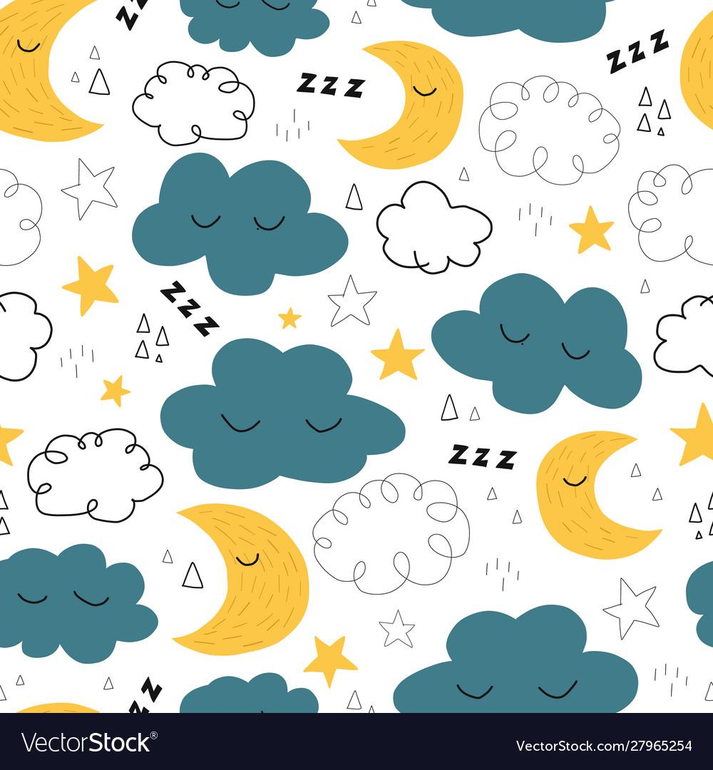 Good night seamless pattern with cute