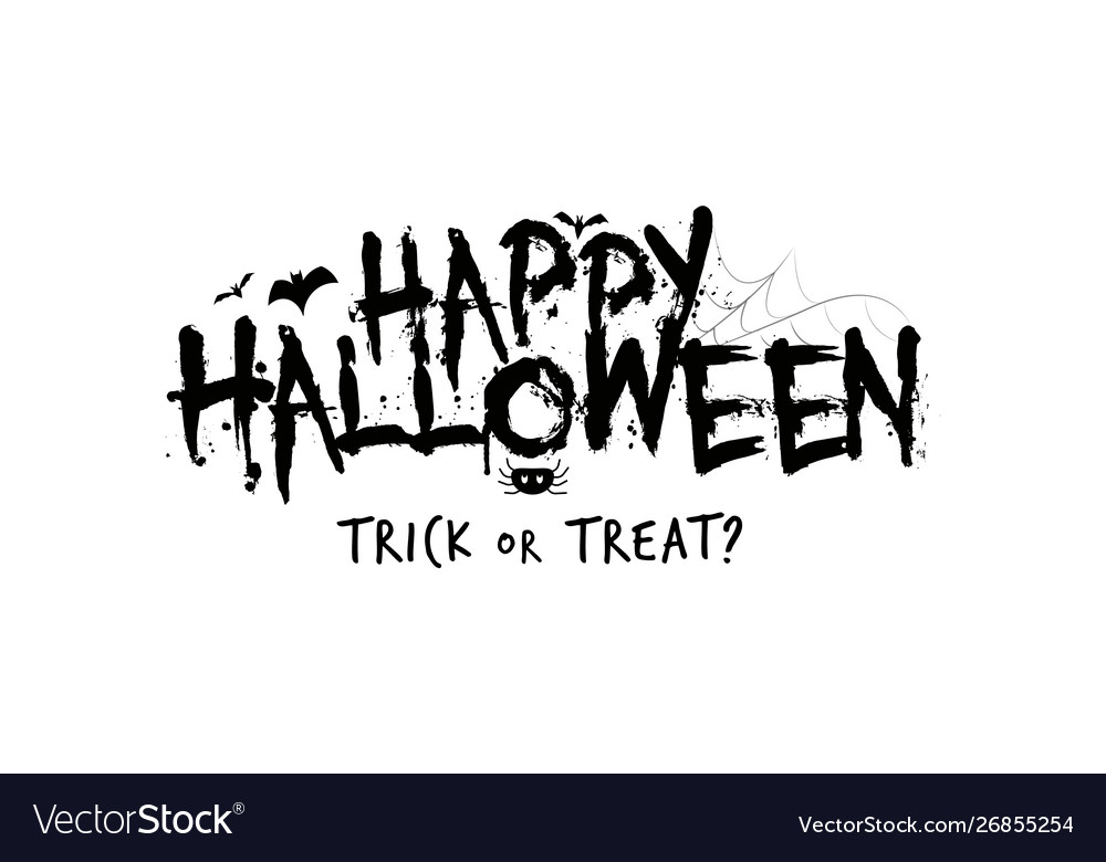 Happy Halloween Party Poster Concept Lettering Vector Image