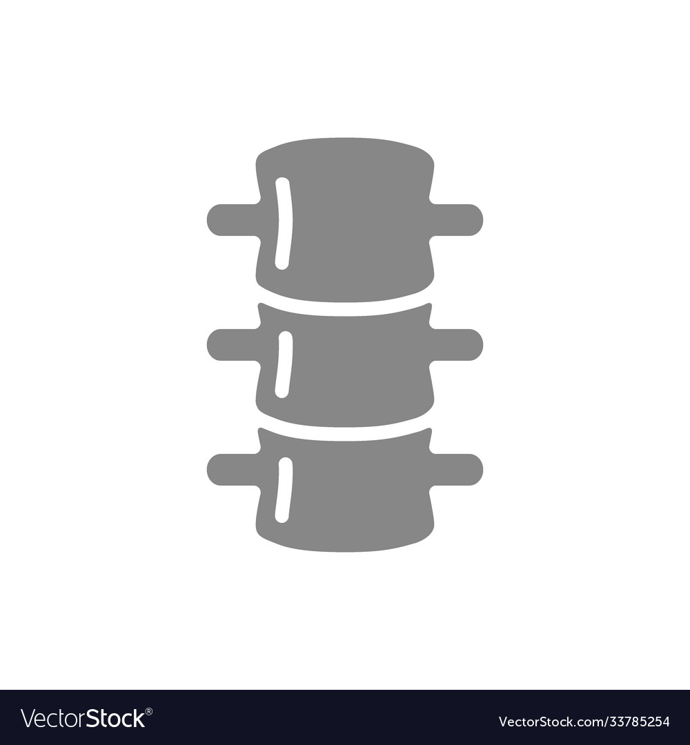 Human spine grey icon spinal canal symbol