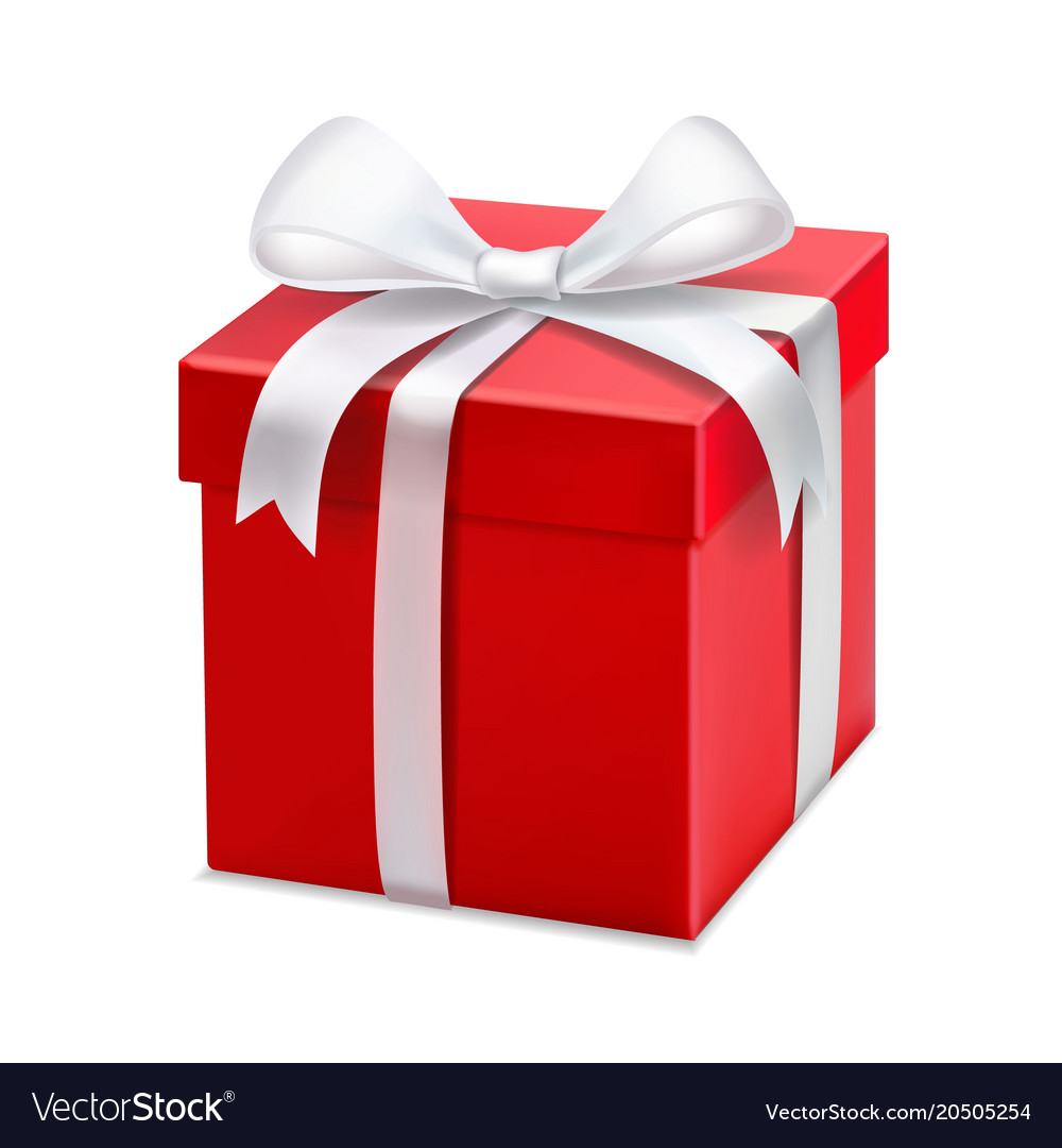 red gift box with white ribbon and bow royalty free vector