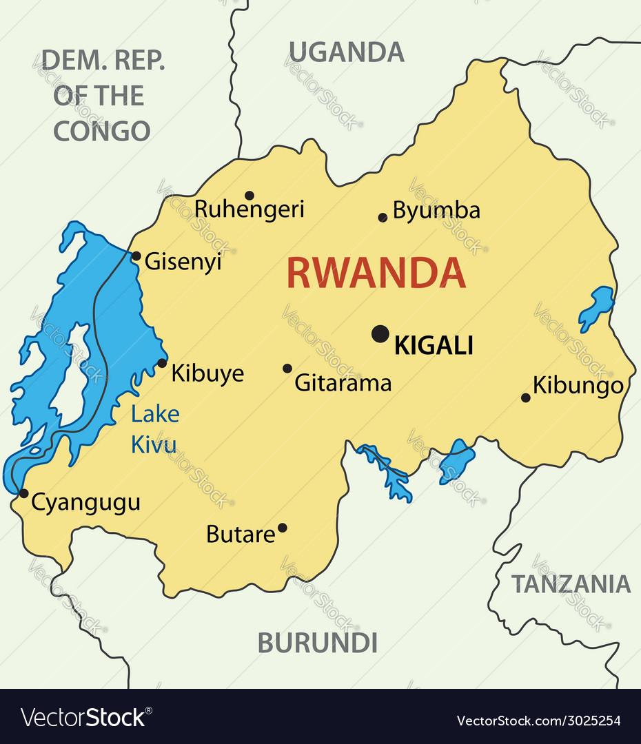 Map Of Rwanda Republic of Rwanda   map Royalty Free Vector Image