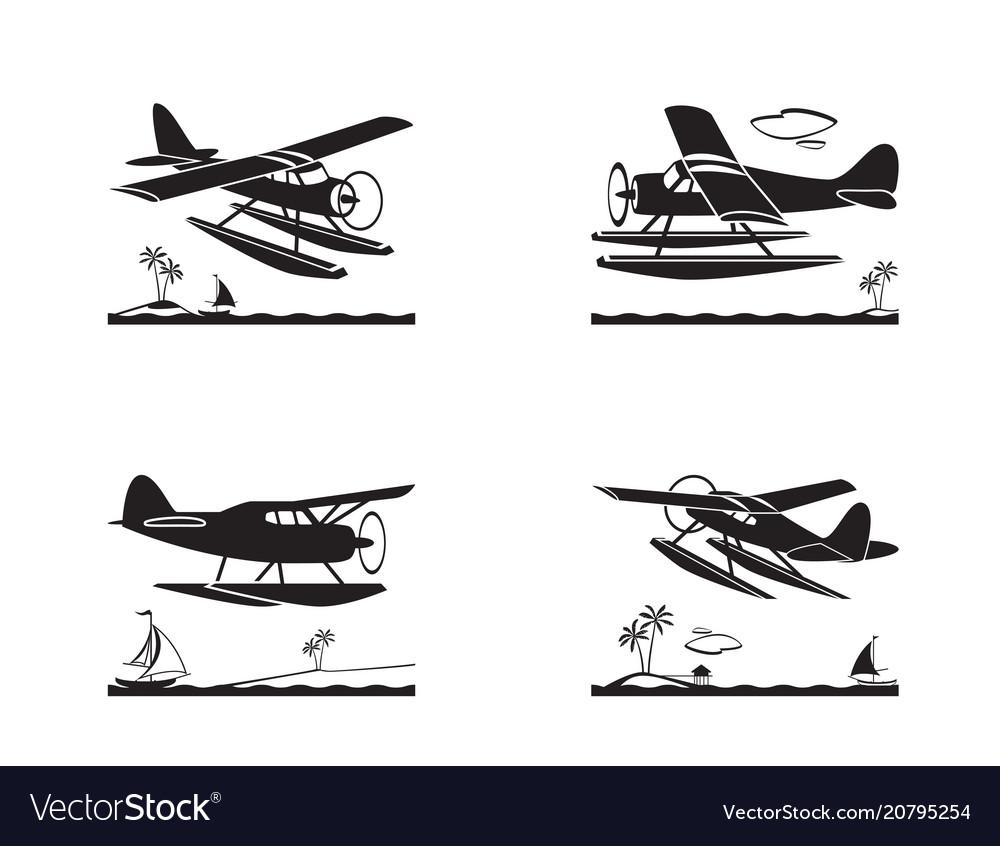Seaplane in flight over sea