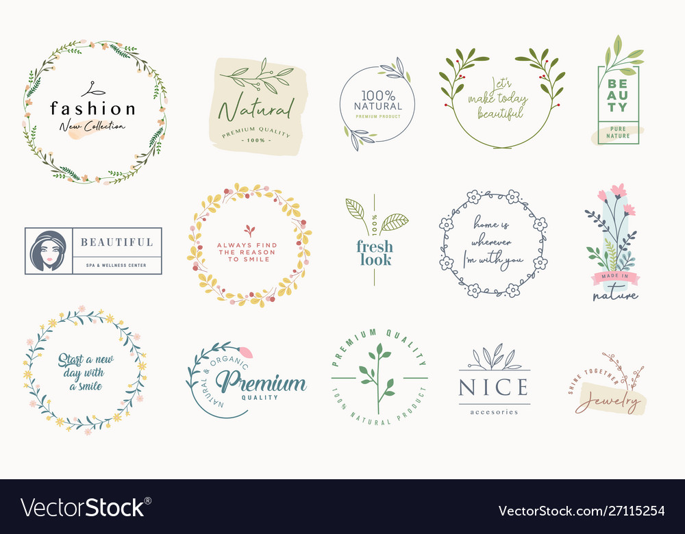 Set elegant badges and stickers for beauty
