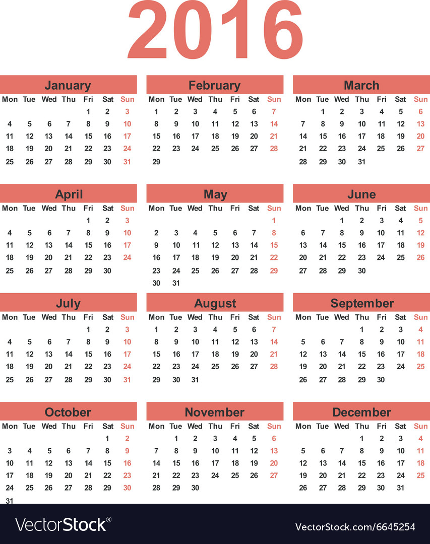 Simple calendar 2016 Week starts on Monday vector image