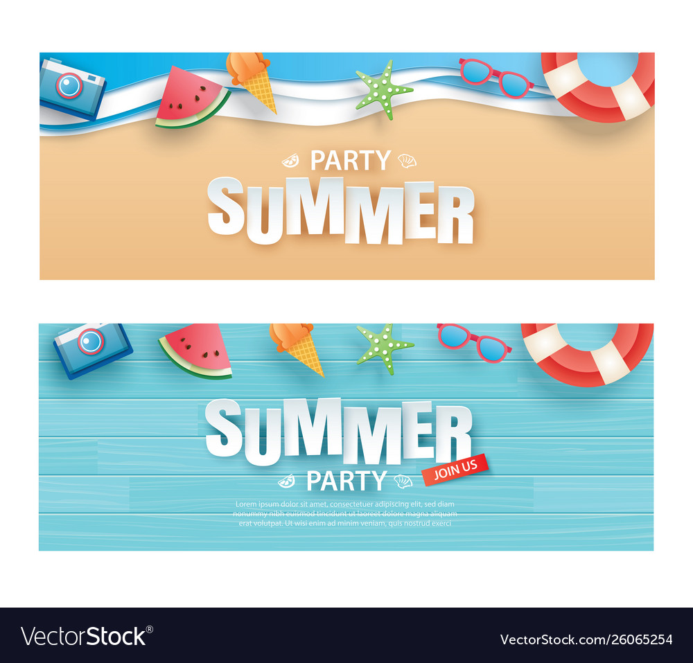 Summer party invitation banner with decoration