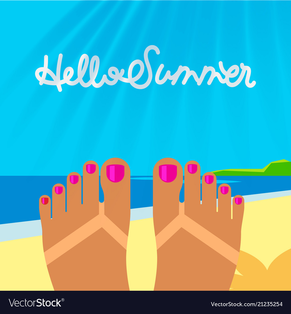 Summer vacation template with tanned woman s feet