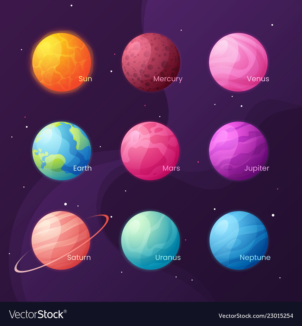 The solar system colorful cartoon set with sun