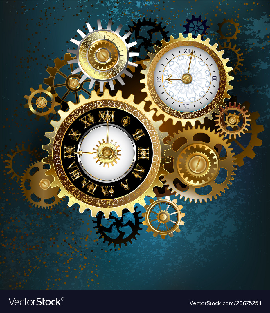 Two steampunk clocks with gears vector image